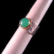 SALE 18 K gold Sterling Silver Chrysoprase Ring Size 7