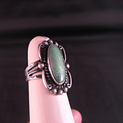 SALE Sterling Silver Native American Harvey era Turquoise Ring  size 6