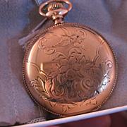 Ladies Nurse Lapel / pendant pocket watch 14 k yellow gold Fill Size O