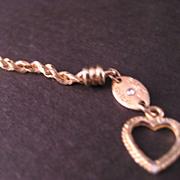 "SALE 14 K Gold Rope Chain Bracelet 7 inch ""Silk Rope"" Diamond on Trademark"