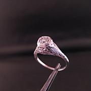 14 K White Gold Diamond Filigree Ring Size 7