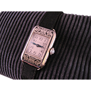 Ladies 1930's Art Deco 14 K White Gold Elgin Wrist Watch 15 jewel