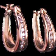 Diamond Hoop Earrings 14 K Yellow Gold .25 ct. total wt.