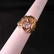 SALE Vintage 1.15 Carat Diamond Gold Nugget Ring Size 13