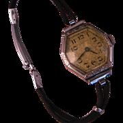 14 K White Gold Lady Walthum 1924 Wrist Watch