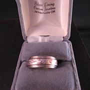 SALE PENDING Mokume Gane 14 k white gold ring
