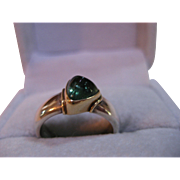 Vintage Green Tourmaline 18 k Gold and Sterling Silver Ring