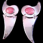 Vintage 1980's Rhodocrosite Sterling Silver Earrings