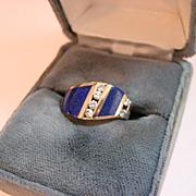 Vintage Kabana Lapis and Diamond 14 k gold Ring