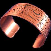 Vintage Copper Northwest Native American Design Cuff Bracelet