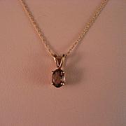 14 k gold chain and amethyst birthstone pendant
