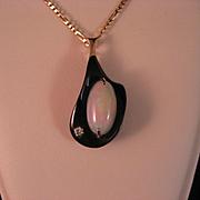 SALE Vintage Opal - Diamond- Ironwood and 14 k Gold Pendant Necklace