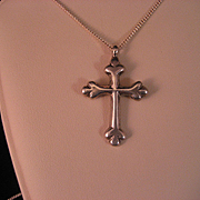 SALE Vintage Sterling Silver Byzantine Cross and Chain