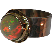 SALE 18 K Gold and Sterling Silver Opal Ring