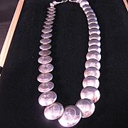 REDUCED Vintage Navajo Sterling Silver Bead Necklace