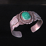 REDUCED Vintage Native American  Harvey Era Sterling Silver and Green Turquoise Bracelet