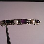 Sterling Silver Amethyst Pearl Hair Clip