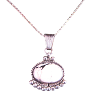 Vintage Sterling Silver White Buffalo Pendant Necklace