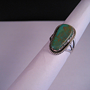Vintage Old Pawn Sterling Silver Royston Green Turquoise Ring