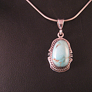 Vintage Sterling Silver Blue Moon Turquoise Southewest Navajo  Necklace
