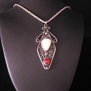 Vintage 1970's Sterling Silver Artisan Pendant Necklace