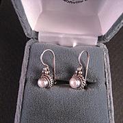 Vintage Sterling Silver Pearl Earrings