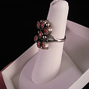 Vintage Southwest Red Coral and Sterling Silver Ring