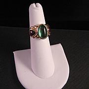 14 K Gold Green Tourmaline and Red Garnet Ring