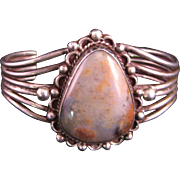 Navajo Old Pawn Petrified Wood Sterling Silver Cuff Bracelet
