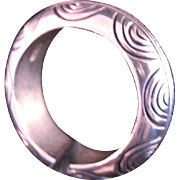 Vintage Heavy Sterling Silver Engraved Band