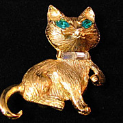Cat Figural with Green Rhinestone Eyes Baguette Collar