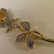 3 -D Gold Metal Long Stem Rose with Pave Set Rhinestone Accents