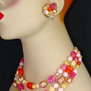 Western Germany Melon Colored Lucite Beaded Necklace and Earring Set