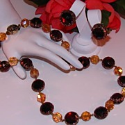 Western Germany Lucite  Root Beer Necklace and Earring Set Book Piece