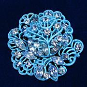 Weiss Blue Enamel and Rhinestone Rose Brooch