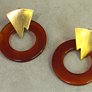 Les Bernard  Retro Lucite Tortoise Shell Earrings