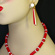 Trifari Red and White Beaded Necklace and Earring Set with Original Hang Tag