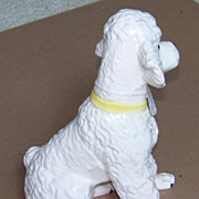 "SALE $ale: POODLE - ceramic Puppy figurine - Vintage - 7-3/4"" - Japan - white"