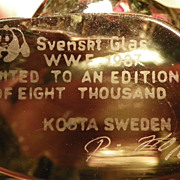 SOLD SALE: Crystal Przewalskis Horse Sculpture - Kosta - World Wildlife Fund - 1987