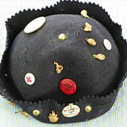 SOLD SALE: Youngster's Cap - Vintage 1930's - Black Felt - Pins & Brass