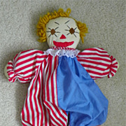 REDUCED CLOWN Doll - Hand-Made - ca. 1950's - 16""