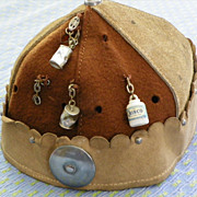 SOLD SALE: CAP for Youngsters - Vintage - Charms & Pins - Felt-Wool-Cotton