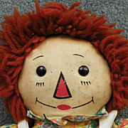 "REDUCED SALE: Raggedy Ann Doll - Georgene - Wool Hair - Black Outlined Nose - 19"" - Vinta"
