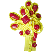 SALE: Zipper Pin, yellow, 13 red Bakelite Buttons sewn on