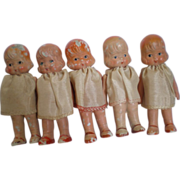 REDUCED Set of 5 Dionne Quint Type Dolls