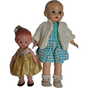 "SOLD 9"" Ideal and 6"" Knickerbocker Plastic Dolls"