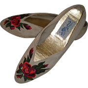 REDUCED 1980's Perry Ellis Gray Suede Floral Embroidered Flats - 9 1/2 B