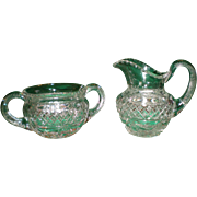 REDUCED Antique Hawkes Cut Glass Creamer and Sugar - Signed