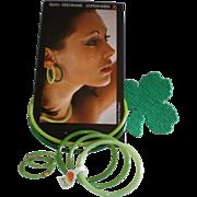 REDUCED Vintage Buch & Deichmann Nylon Plastic Neckring,, Bracelet & Clip Earring Set - Unworn