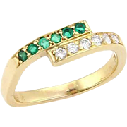 Estate Cartier Diamonds & Emerald 18k Yellow Gold Wrap Band Ring
